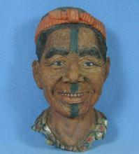 old Bosson Pottery type NATIVE CHIEF Figural FACE Wall Hanging - misc