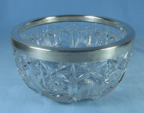 CUT GLASS Bowl with Silver Rim