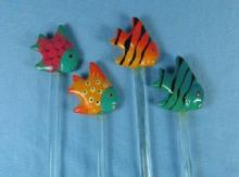 Glass TROPICAL FISH Stirrers Swizzle Stick Group
