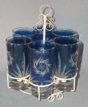 Six Cobalt Glasses Cut to Clear in White Holder