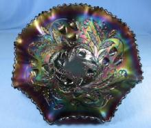 CARNIVAL GLASS ~ Northwood STRAWBERRY Amethyst Carnival Glass Bowl by Northwood