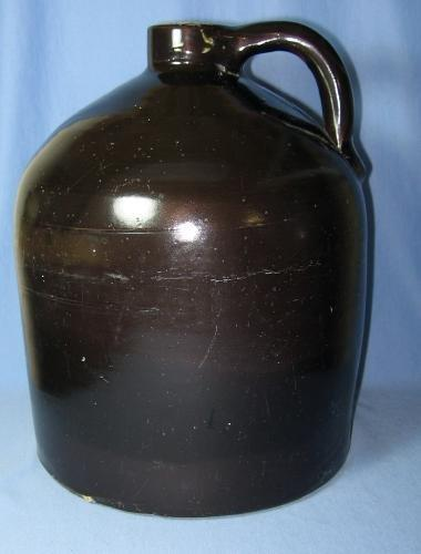 Pottery  Stoneware Whiskey MOONSHINE Jug - Large Bennington Brown Crock Antique Primitive