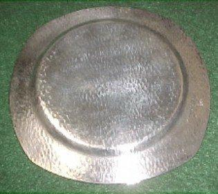 Nickle Silver HOMAN PLATE Art Deco Hammered  - Silver