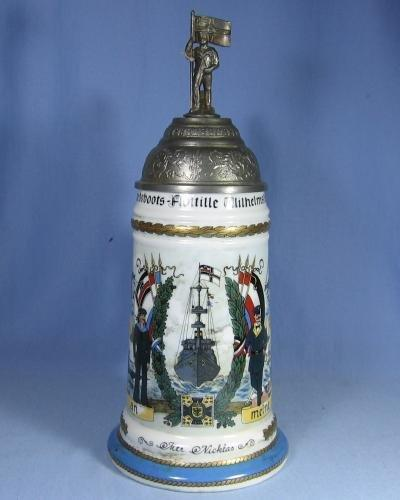 Stein  German Lithograph Military Stein - Sailor & Flag  Finial - Antique Porcelain