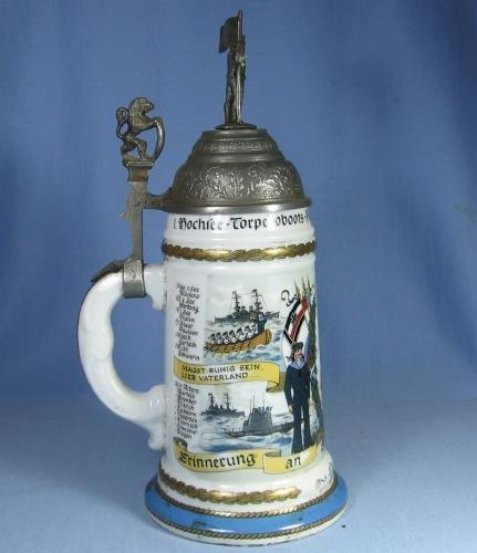 Stein  German Lithograph Military Stein - Sailor & Flag  Finial - Antique Porcelain