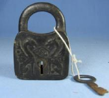 Victorian Iron PADLOCK and Key - DRAGON Embossed Case metalware tool
