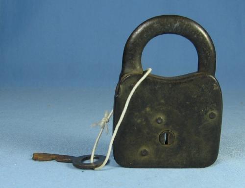 Victorian Iron PADLOCK and Key - DRAGON Embossed Case metalware tool