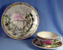 MORIAGE 3pc set  Group Porcelain Triplet - Japan Plate Cup & Saucer