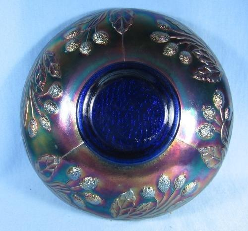 Fenton Carnival Glass ORANGE TREE ORCHARD w/Bearded Berry Exterior Vintage Cobalt Carnival Glass Bowl