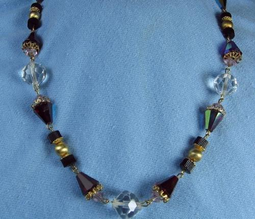 vintage Faceted Crystal & Ruby Necklace - Estate Jewelry
