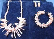 Genuine Branch CORAL Necklace, Earrings and Bracelet - 3pc. Vintage Estate Jewelry