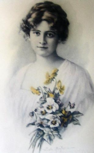 Vintage ZULA KENYON Girl with Pansies - Antique Art flowers