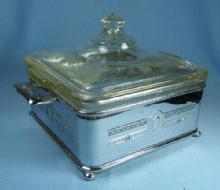 1930-40's Chrome & Pyrex  Glass Covered Casserole