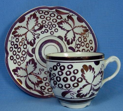 Gray's Pottery COPPER LUSTRE Luster Teacup and Saucer - Antique Porcelain