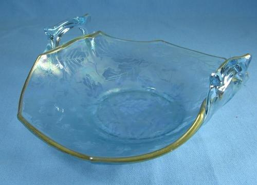 Enameled Glass Bon Bon Dish - Vintage Elegant Glass