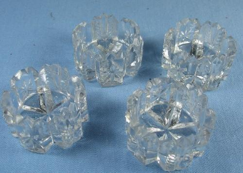 OPEN SALT dip Group of Four (4) Pressed Cut Glass Salt Dips