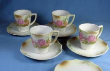 German Porcelain LUSTRE Luster DEMI Cup & Saucer Group