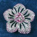 Jewelry  Vintage Hot PINK Rhinestone & Marcasite type Brooch - Estate Jewelry