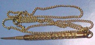 Gold Pencil on Chain - Jewelry