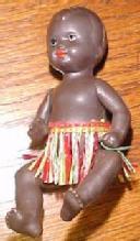 BLACK Plastic Baby Miniature GERMANY - Toy