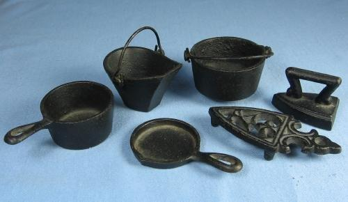 vintage Old Miniature Cast Iron Stove POTS PANS Sad IRON Toy Group - vintage Metalware