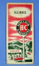 US Map  Vintage SINCLAIR Oil Gas Advertising Road Map ILLINOIS - map