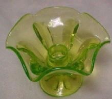 Vaseline Glass Candle Holder - Glass