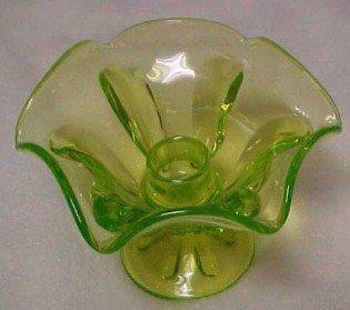 Vaseline Glass Candle Holder - Glass