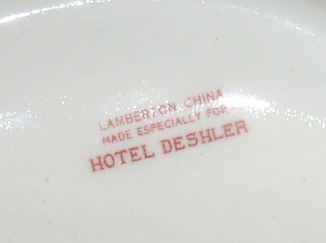 Porcelain Hotel DESHLER Matchholder - Advertising
