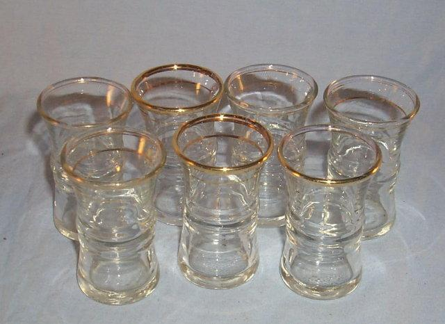 Seven Clear / Gold Trim Shot Glasses - Glass