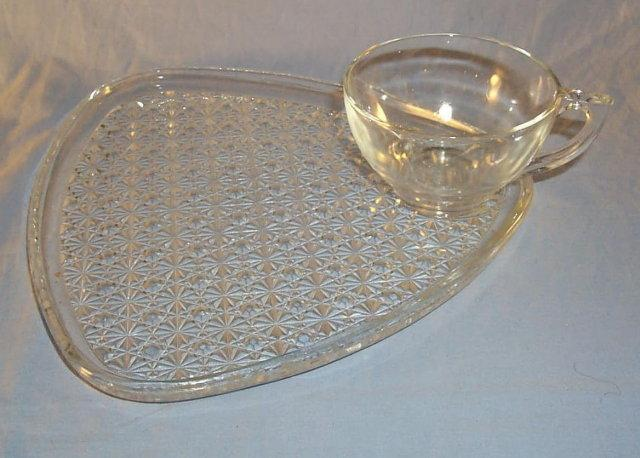 Sixteen Piece Clear Glass Snack Set in Original Box