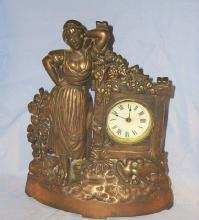 Bronzed Cast Iron GIRL IN GARDEN Shelf Clock- Miscellanous