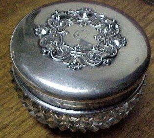 Cut Glass Powder/ Sterling Lid - Silver