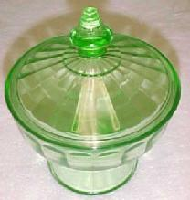 Aurora Green Candy Jar - Depression Glass