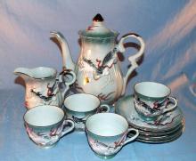 Eleven Piece  Green Highlighted DRAGONWARE Porcelain Tea Set