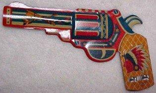 Indian Gun Whistle Lithograph Tin - Advertising