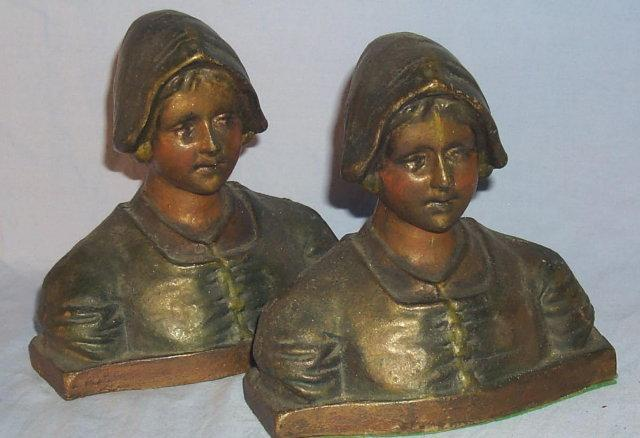 DUTCH GIRL Cast Iron Polychrome Bookends - Metalware