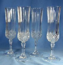 vintage Cristal D'Arques Longchamp Champagne Flutes - Crystal Glass
