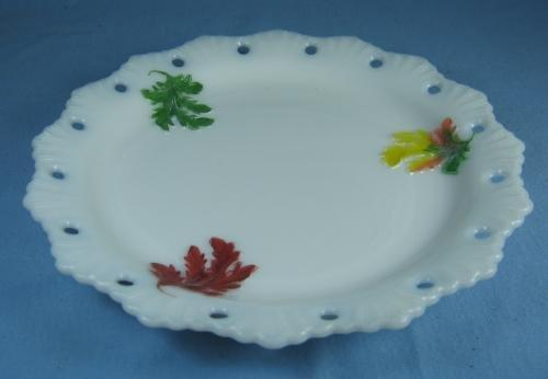 milk glass vintage LEAF Pierced Rim Milk Glass Plate