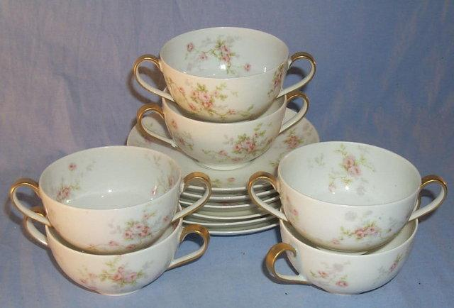 Six Sets LIMOGES Porcelain Cream Soup Bowls