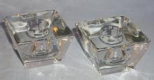 Square Shaped Clear Glass Candleholders