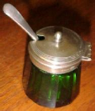 Green Cut Glass Mustard Server & Spoon - Glass