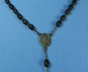 old Vintage Antique Ebony Wood Bead ROSARY France