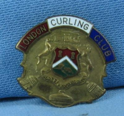 old LONDON CURLING CLUB Sports Medal Pin - Antique Sporting