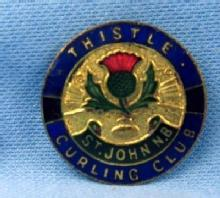 old THISTLE ST. JOHNS CURLING CLUB -  Sports Medal Pin - Antique Sporting