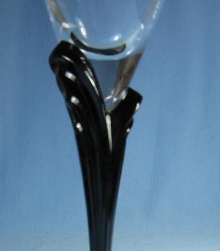 old vintage MIKASA Black Stem Wine Glass - Crystal Austria