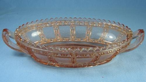 old vintage Imperial Glass BEADED BLOCK  Handled Relish Dish