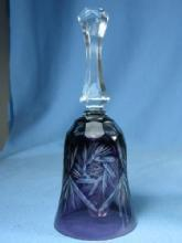 old vintage Bohemian Art Glass HAND BELL - Amethyst cut to Clear