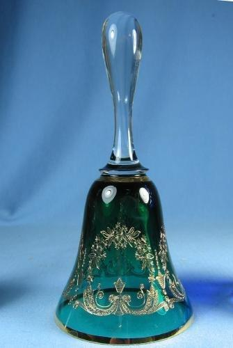 Emerald Green Gold Decorated Etched Glass  HAND BELL -