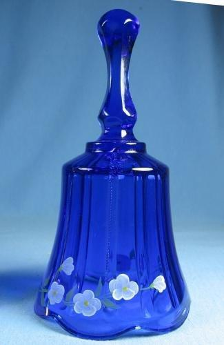 Artist Signed FENTON Hand BELL - D. Culshaw decorated COBALT Blue Glass